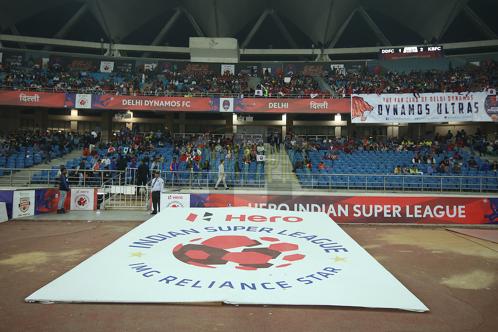 GV, Branding during match 53 of the Indian Super League (ISL) season 2  between Delhi Dynamos FC and Kerala Blasters FC held at the Jawaharlal Nehru Stadium, Delhi, India on the 3rd December 2015.<br /> <br /> Photo by Saikat Das  / ISL/ SPORTZPICS