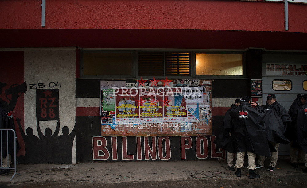 ZENICA, BOSNIA & HERZEGOVINA - Saturday, October 10, 2015: An exterior view of the entrance to the Stadion Bilino Polje where Wales play Bosnia and Herzegovina during the UEFA Euro 2016 qualifying Group B match. (Pic by Peter Powell/Propaganda)