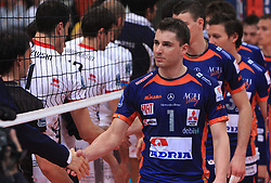 Team of Ach Bled with Andrej Flajs in front at volleyball match of CEV Indesit Champions League Men 2008/2009 between Trentino Volley (ITA) and ACH Volley Bled (SLO), on November 4, 2008 in Palatrento, Italy. (Photo by Vid Ponikvar / Sportida)