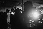 Sihouetted figures, 'Krampus Karnival' Christmas party in Bristol, December 2016