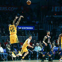 30 November 2017: Utah Jazz guard Donovan Mitchell (45) takes a jump shot during the Utah Jazz 126-107 victory over the LA Clippers, at the Staples Center, Los Angeles, California, USA.