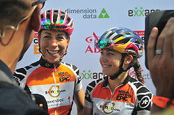 PAARL SOUTH AFRICA - MARCH 23: Women's Orange Jersey winners Annika Langvad and Kate Courtney interviewed after the 70km final day, stage 7 on March 23, 2018 Wellingtion to Paarl, South Africa. Mountain bikers gather from around the world to compete in the 2018 ABSA Cape Epic, racing 8 days and 658km across the Western Cape with an accumulated 13 530m of climbing ascent, often referred to as the 'untamed race' the Cape Epic is said to be the toughest mountain bike event in the world. (Photo by Dino Lloyd)