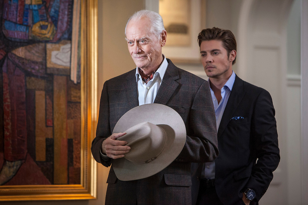 Larry Hagman and Josh Henderson in the Living Room of Sue Ellen's house in TNT's 'Dallas'