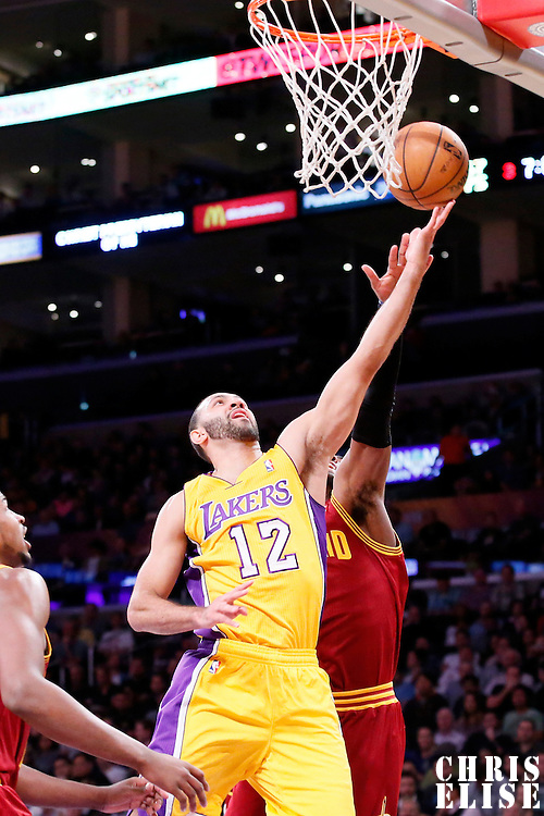 14 January 2014: Los Angeles Lakers point guard Kendall Marshall (12) goes for the layup during the Cleveland Cavaliers 120-118 victory over the Los Angeles Lakers at the Staples Center, Los Angeles, California, USA.