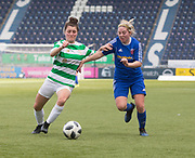 Celtic's Keeva Keena battles for the ball with Forfar Farmington's Cheryl Kilcoyne - Celtic v Forfar Farmington in the SWPL Cup semi final at Falkirk, Falkirk Stadium,<br /> <br />  - &copy; David Young - www.davidyoungphoto.co.uk - email: davidyoungphoto@gmail.com
