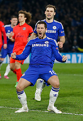 Eden Hazard of Chelsea celebrates scoring a goal from the penalty spot to make it 2-1 - Photo mandatory by-line: Rogan Thomson/JMP - 07966 386802 - 11/03/2015 - SPORT - FOOTBALL - London, England - Stamford Bridge - Chelsea v Paris Saint-Germain - UEFA Champions League Round of 16 Second Leg..