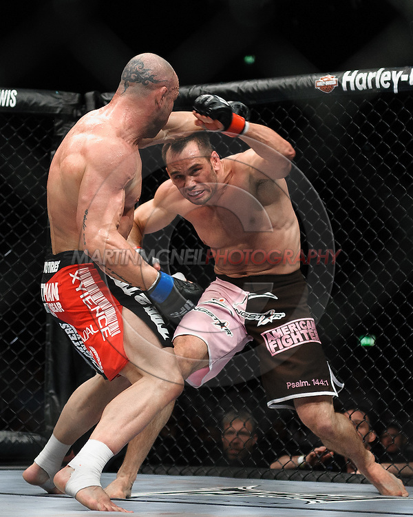 """COLOGNE, GERMANY, JUNE 13, 2009: Wanderlei Silva and Rich Franklin during """"UFC 99: The Comeback"""" inside LanXess Arena, Cologne"""