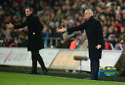 Leicester City manager Claudio Ranieri gives his players directions. - Mandatory by-line: Alex James/JMP - 12/02/2017 - FOOTBALL - Liberty Stadium - Swansea, England - Swansea City v Leicester City - Premier League