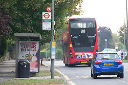 ©Licensed to London News Pictures 16/09/2020  <br /> Orpington, UK. A bus stop in Crofton road. A police investigation has been launched after a man attempted to abduct two eleven year old school girls in Orpington, South East London. Police say the girls were near a bus stop in Crofton Road at around 3pm last Wednesday when they were approached by the suspect who got out of a car and tried to grab them, the girls ran back to school. Photo credit:Grant Falvey/LNP