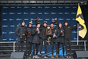 Nov 17, 2018; Madison, WI, USA; Members  of the Colorado men's teem pose with trophy after placing second during the NCAA Cross Country Championships at the Thomas Zimmer Championship Course.