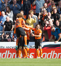 Dundee United&rsquo;s Billy McKay (hidden) cele scoring their goal. <br /> Half time : Dundee United 1 v 0 Inverness Caledonian Thistle, SPFL Ladbrokes Premiership game played 19/9/2015 at Tannadice.