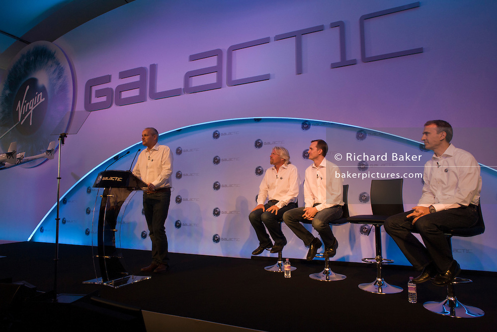 Virgin Galactic's Stephen Attenborough with Richard Branson and other executives during announcement presentation at Farnborough