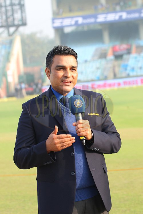 Sanjay Manjrekar  during day two of the 4th Paytm Freedom Trophy Series Test Match between India and South Africa held at the Feroz Shah Kotla Stadium in Delhi, India on the 4th December 2015<br /> <br /> Photo by Ron Gaunt  / BCCI / SPORTZPICS