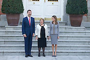 102914 Spanish Royals Meet with Michelle Bachelet Chilean President at Zarzuela Palace