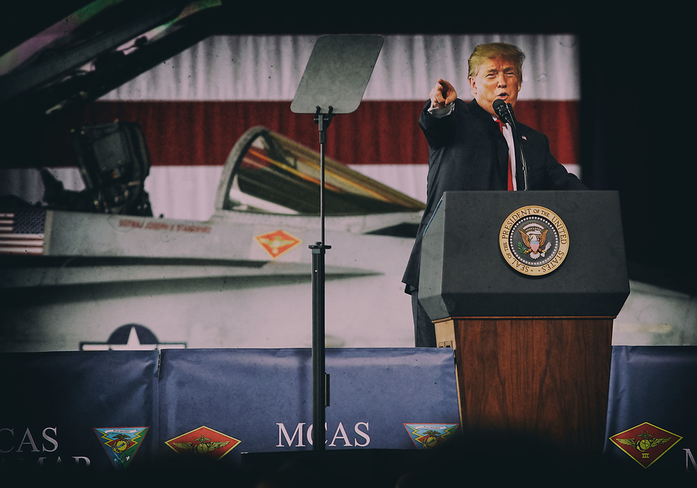 SAN DIEGO, CA-MARCH 13:  President Donald Trump address troops at Miramar Marine Corp Air Station on Tuesday, March 13, 2018 in San Diego, California.  President Trump, on his first visit to California, will view the border prototype walls and then attend a fund-raiser in Beverly Hills.(Photo by Sandy Huffaker/Getty Images)