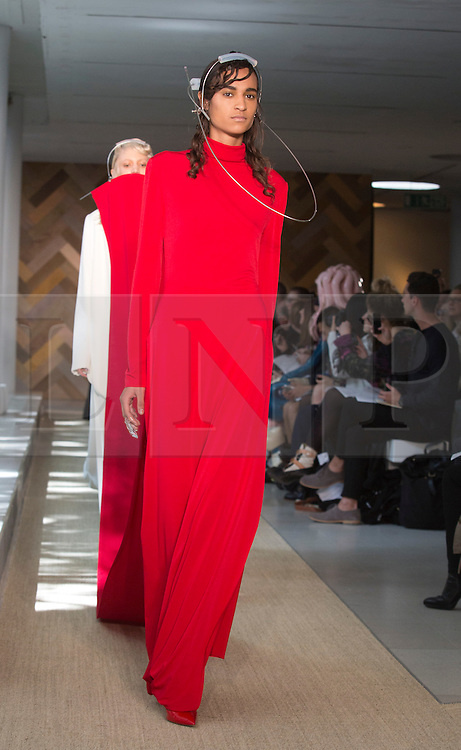 © Licensed to London News Pictures. 29/05/2014. London, England. Collection by Marta Jakubowski. 30 students of the Royal College of Art's prestigious MA Fashion programme presented their final collections in  a runway show at the RCA building in Kensington. Photo credit: Bettina Strenske/LNP