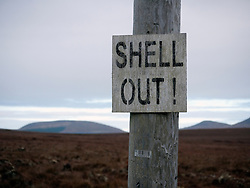 Protest sign erected by campaign groups who oppose the Corrib Natural Gas project by Royal Dutch Shell in County Mayo Ireland