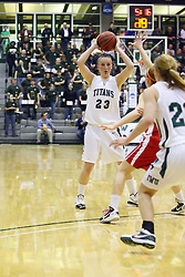 18 March 2011: Olivia Lett looks for a pass to the inside during an NCAA Womens basketball game between the Washington University Bears and the Illinois Wesleyan Titans at Shirk Center in Bloomington Illinois.