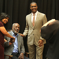 Adam Robison | BUY AT PHOTOS.DJOURNAL.COM<br /> Janet and Sean Suggs have their photo made with actor John Amos, the Guest of Honor, at the fourth annual Our Mississippi Honors Gala, during a meet and greet prior to the Gala at the BancorpSouth Conference Center in Tupelo Saturday night.