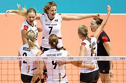 29.09.2011, Hala Pionir, Belgrad, SRB, Europameisterschaft Volleyball Frauen, Viertelfinale, Deutschland (GER) vs. Tschechien (CZE, im Bild Jubel Deutschland: Kathleen Weiß / Weiss (#2 GER), Margareta Kozuch (#14 GER / Sopot POL), Angelina Grün / Gruen (#7 GER / Aachen GER), Corina Ssuschke-Voigt (#9 GER / Sopot POL), Maren Brinker (#15 GER / Pesaro ITA), Kerstin Tzscherlich (#4 GER / Dresden GER) // during the 2011 CEV European Championship, Quarterfinal at Hala Pionir, Belgrade, SRB, Germany vs Czech Republic, 2011-09-29. EXPA Pictures © 2011, PhotoCredit: EXPA/ nph/  Kurth       ****** out of GER / CRO  / BEL ******