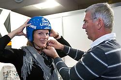 16.10.2010, Olympia Eisstadion, Innsbruck, AUT, OeSV Einkleidung 2010, im Bild Marlies Schild mit neuem Helm von UVEX, EXPA Pictures © 2010, PhotoCredit: EXPA/ J. Groder