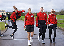 CARDIFF, WALES - Thursday, April 4, 2019: Wales' L-R Kayleigh Green, Gemma Evans, goalkeeper Laura O'Sullivan and Cori Williams during a pre-match team walk at the Vale Resort ahead of an International Friendly match between Wales and Czech Republic at Rodney Parade. (Pic by David Rawcliffe/Propaganda)