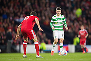 Celtic midfielder Patrick Roberts (#27) takes on Aberdeen defender Anthony O'Connor (#15) during the Scottish Cup final match between Aberdeen and Celtic at Hampden Park, Glasgow, United Kingdom on 27 November 2016. Photo by Craig Doyle.