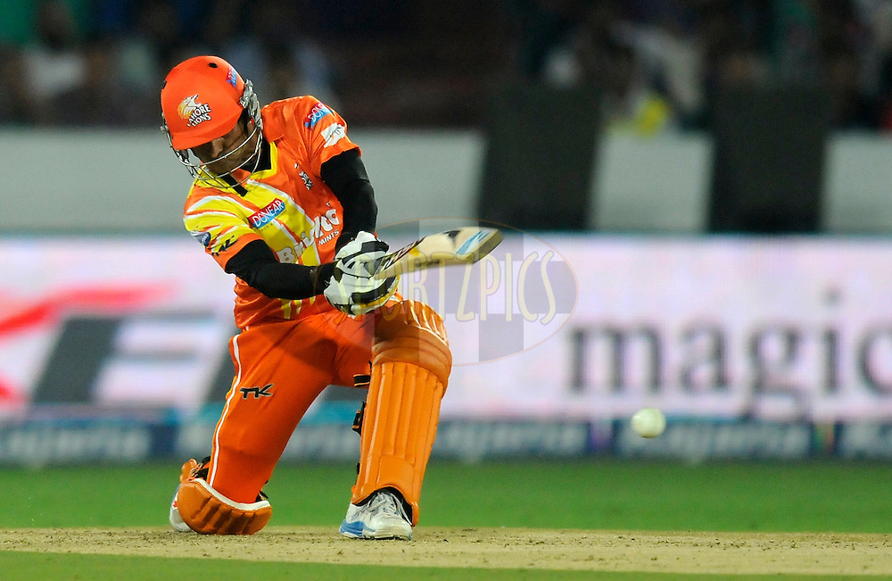 Mohammad Hafeez Captain of Lahore Lions bats during match 7 of the Oppo Champions League Twenty20 between the Kolkata Knight Riders and the Lahore Lions held at the Rajiv Gandhi Cricket Stadium, Hyderabad, India on the 21st September 2014<br /> <br /> Photo by:  Pal Pillai / Sportzpics/ CLT20<br /> <br /> <br /> Image use is subject to the terms and conditions as laid out by the BCCI/ CLT20.  The terms and conditions can be downloaded here:<br /> <br /> http://sportzpics.photoshelter.com/gallery/CLT20-Image-Terms-and-Conditions-2014/G0000IfNJn535VPU/C0000QhhKadWcjYs