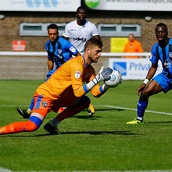 Gillingham's goalkeeper Thomas Holy calmly collects the ball during the pre-season friendly match between Dover Athletic and Gillingham FC at Crabble Stadium, Kent on 21 July 2018. Gillingham ran out 3 to nothing winners. Photo by Matt Bristow.