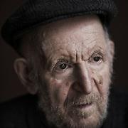 Artist Gustav Metzger. Photographed in Hackney, East London 2016.