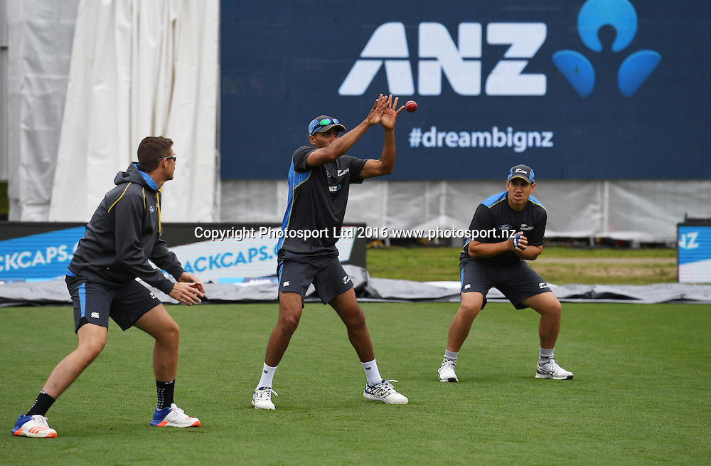 Jeet Raval during slips catching practice before the start of play. New Zealand Black Caps v Pakistan. Day 1, 2nd test match. Friday 25 November 2016. Seddon Park, Hamilton, New Zealand. © Copyright photo: Andrew Cornaga / www.photosport.nz