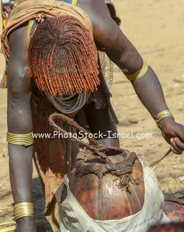 Africa, Ethiopia, Omo River Valley woman of the Hamer Tribe at the regional market