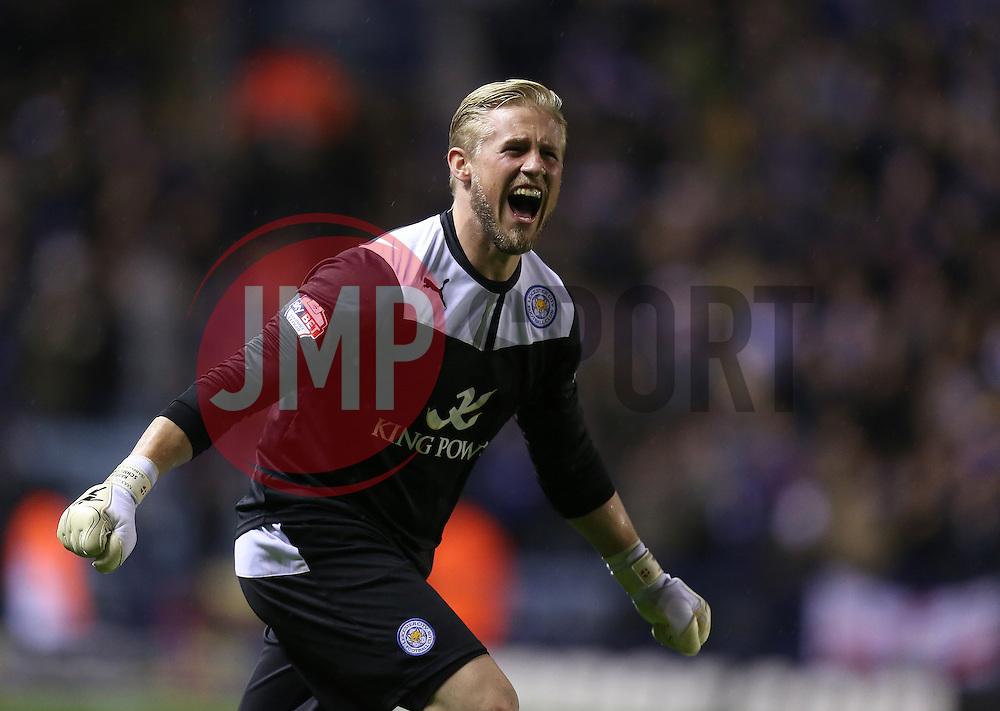 Leicester City's Kasper Schmeichel celebrates the victory - Photo mandatory by-line: Matt Bunn/JMP - Tel: Mobile: 07966 386802 10/01/2014 - SPORT - FOOTBALL - King Power Stadium - Leicester - Leicester City v Derby County - Sky Bet Championship