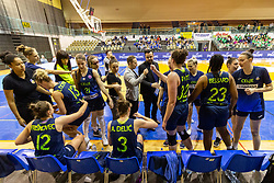 Cinkarna Celje team at 1min break during the basketball match between Akson Ilirija and Cinkarna Celje in Final Round of Pokal Članic 2018/19, on March 10, 2019 in Dvorana Tabor, Maribor, Slovenia. Photo by Blaž Weindorfer / Sportida