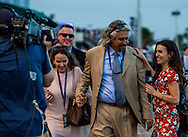 HALLANDALE BEACH, FL - JANUARY 27: Britney Eurton interviews Steve Asmussen at the Pegasus World Cup Invitational at Gulfstream Park Race Track on January 27, 2018 in Hallandale Beach, Florida. (Photo by Alex Evers/Eclipse Sportswire/Getty Images)