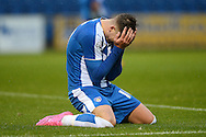 George Moncur hits the floor after missing a great chance at to goal during the Sky Bet League 1 match between Colchester United and Coventry City at the Weston Homes Community Stadium, Colchester<br /> Picture by Richard Blaxall/Focus Images Ltd +44 7853 364624<br /> 14/11/2015