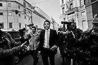 Mayor of Florence Matteo Renzi steps outside the headquarters of the Democratic Party after the secretary Pierluigi Bersani resigned.