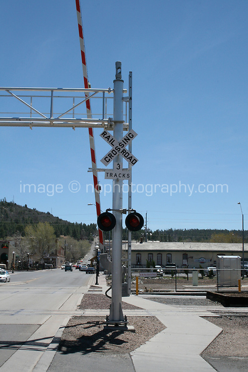 Crossing at the Grand Canyon Railway in Williams Arizona USA. The railway has been taking passengers to the Grand Canyon since 1901.