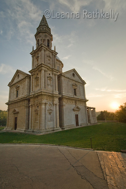 The church, Tempio di San Biagio, at sunset, Montepulciano, Italy.