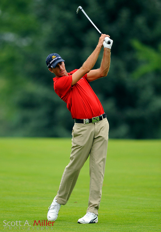 Aug 15, 2009; Chaska, MN, USA; Geoff Ogilvy (AUS) hits an approach shot during the third round of the 2009 PGA Championship at Hazeltine National Golf Club.  ©2009 Scott A. Miller