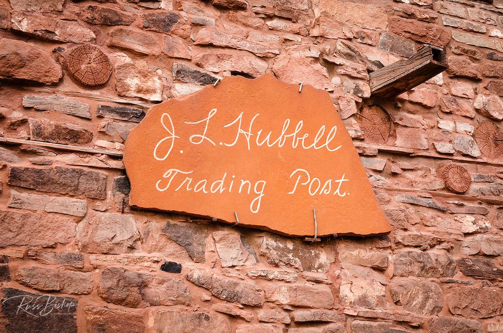 Entrance sign at Hubbell Trading Post National Historic Site, Arizona USA