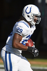 December 26, 2010; Oakland, CA, USA;  Indianapolis Colts running back Joseph Addai (29) warms up before the game against the Oakland Raiders at Oakland-Alameda County Coliseum.