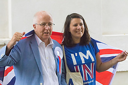 "Westminster, London, June 23rd 2016. Spotted outside Parliament is disgraced former Labour MP Denis MacShane who resigned in 2012 following his conviction for false accounting, posing with a woman in an ""I'M IN"" t-shirt."