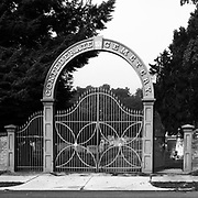 Main gate to the Confederate Cemetery in Fredericksburg, Virginia.
