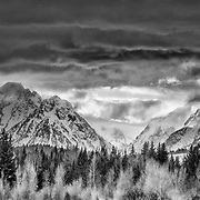 Winter landscape of the Teton Range from Turpin Meadow in the Buffalo Valley of Wyoming.