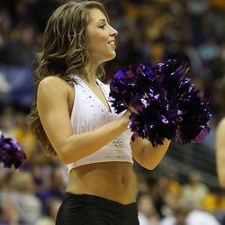 14 February 2009: A LSU Tiger Girl performs during a NCAA basketball game between SEC rivals the Ole Miss Rebels and the LSU Tigers at the Pete Maravich Assembly Center in Baton Rouge, LA.
