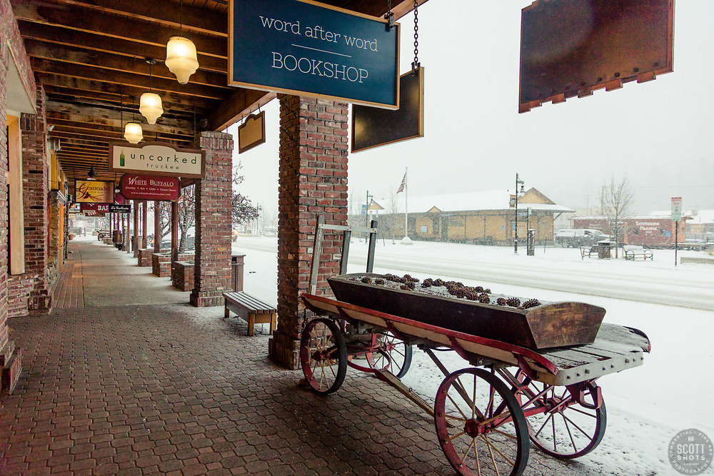 """Downtown Truckee 46"" - Photograph of historic Downtown Truckee, California shot during a snow storm."