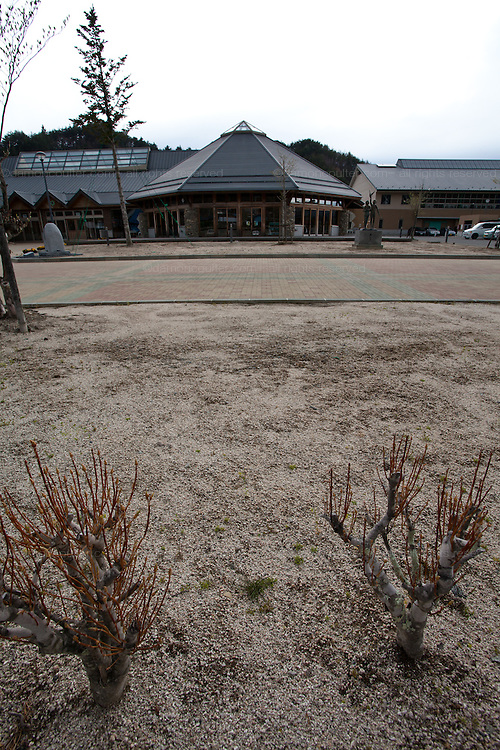 The top layer of earth has been removed from the playground of Kawauchi Elementary School in an effort to decontaminate it, Kawauchi, Fukushima, Japan. Tuesday April 30th 2013