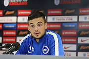 Jake Forster-Caskey speaking to press during the U21 England Press Conference ahead of the U21 Championship match against Switzerland at  at the American Express Elite Football Performance Centre, Brighton and Hove, England on 5 November 2015.