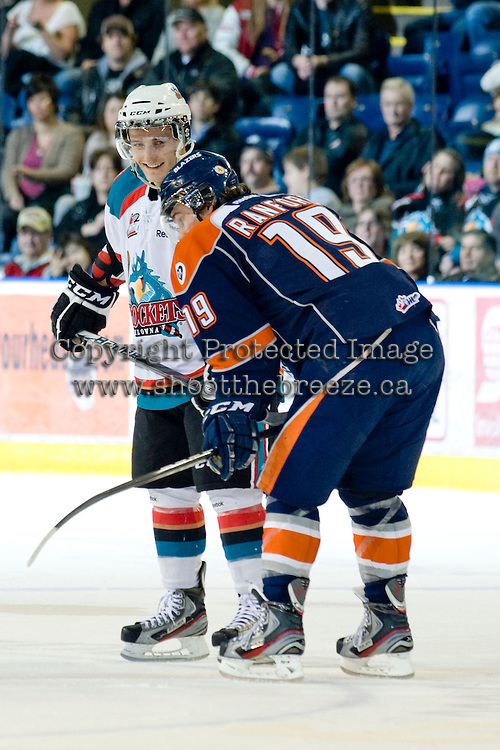 KELOWNA, CANADA, JANUARY 25: Cody Chikie #14 of the Kelowna Rockets exchanges words with Brendan Ranford #19 of the Kamloops Blazers as the Kamloops Blazers visit the Kelowna Rockets on January 25, 2012 at Prospera Place in Kelowna, British Columbia, Canada (Photo by Marissa Baecker/Getty Images) *** Local Caption ***